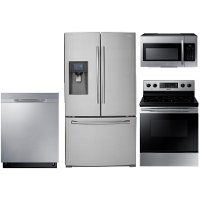 S/S-4PC-SUGAP-ELEKT Samsung 4 Piece Electric Kitchen Appliance Package with 24.6 cu. ft. French Door Refrigerator - Stainless Steel