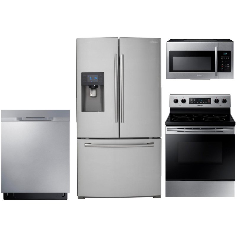 Samsung 4 Piece Electric Kitchen Appliance Package with 24.6 cu. ft. French  Door Refrigerator - Stainless Steel