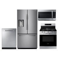 S/S-4PC-SUGAP-GASKT Samsung 4 Piece Kitchen Appliance Package with Gas Range and StormWash Dishwasher - Stainless Steel