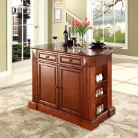 KF30007CH Cherry Drop Leaf Breakfast Bar Top Kitchen Island - Coventry