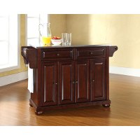 KF30002AMA Dark Mahogany Kitchen Island with Stainless Steel Top - Alexandria