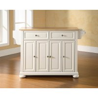 KF30001AWH White Kitchen Island with Natural Top - Alexandria