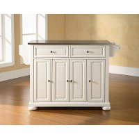 KF30002AWH Stainless Steel Top Kitchen Island - Alexandria