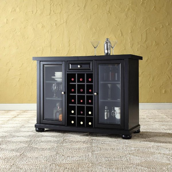 ... KF40002ABK Black Sliding Top Bar Cabinet - Alexandria & Bar Cabinets For Your Home | RC Willey Furniture Store
