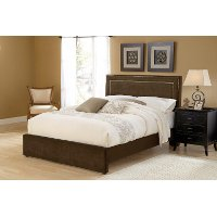 1554BQRA Chocolate Upholstered Queen Size Bed - Amber