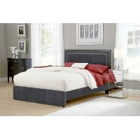 1638BQRA Pewter Upholstered Queen Size Bed - Amber