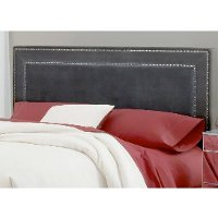 1638HQRA Pewter Upholstered Queen Size Headboard - Amber