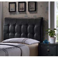 1281HQR Contemporary Black Queen Upholstered Headboard - Lusso