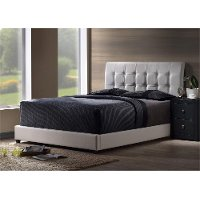 1283BTWR White Upholstered Twin Bed - Lusso