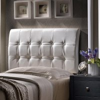 1283HQR Contemporary White Queen Upholstered Headboard - Lusso