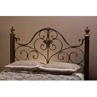 1648HQR Antique Gold Queen Metal Headboard - Mikelson