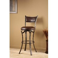 4919-826 Distressed Pewter Finish Swivel Counter Stool - Drummond