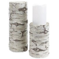 6 Inch Antique White Birch Candle Holder