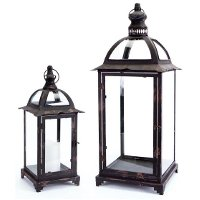 16 Inch Black and Brown Metal and Glass Lantern