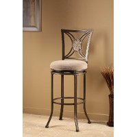 4897-830 Black & Oval Fossil Stone Swivel Bar Stool - Rowan