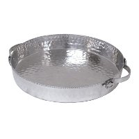 Hammered Aluminum Deep Round Tray with Handles