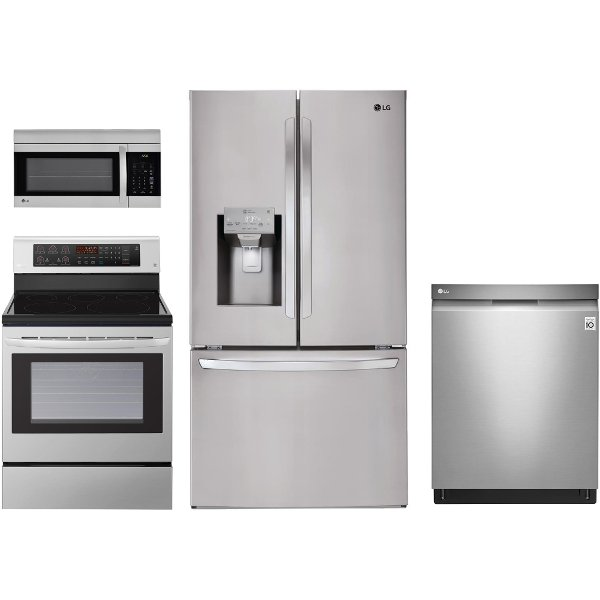 ... LG SS 4PC ELE 3DR LG 4 Piece Kitchen Appliance Package With