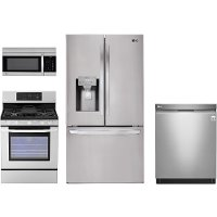 LG-SS-4PC-GAS-3DR LG 4 Piece Gas Kitchen Appliance Package - Stainless Steel