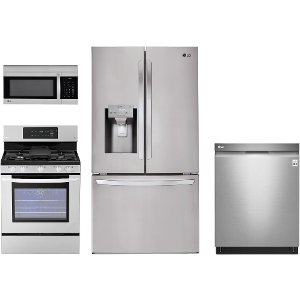 ... LG SS 4PC GAS 3DR LG 4 Piece Gas Kitchen Package