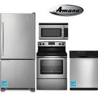 SS-4PC-ELE-BTM-FRZ Amana 4 Piece Kitchen Appliance Package - Stainless Steel