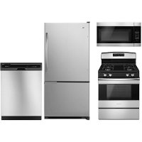 SS-4PC-BTMFRZ-GAS Amana 4 Piece Gas Appliance Package with Gas Range - Stainless Steel