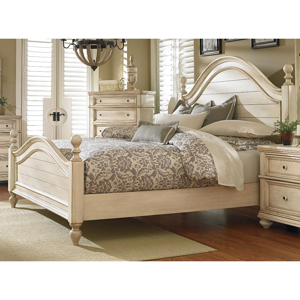 Antique White King Size Bed Heritage Rc Willey Furniture Store - White-king-bed-frame