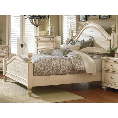 Rustic Antique White Queen Bed - Heritage | RC Willey Furniture Store
