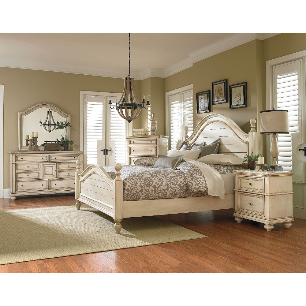 antique white 6piece king bedroom set heritage