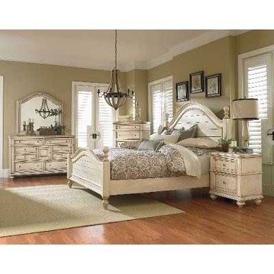 Good Antique White 6 Piece King Bedroom Set   Heritage