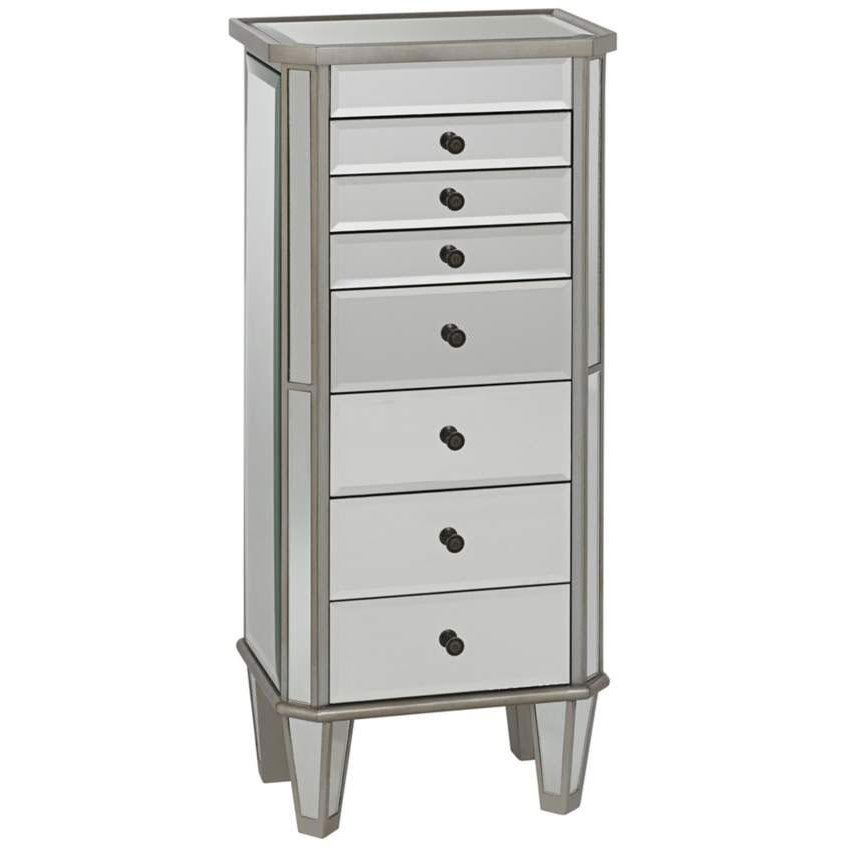 Silver and Mirrored Jewelry Armoire RC Willey Furniture Store