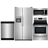 KIT Frigidaire 4 Piece Electric Kitchen Appliance Package with Side by Side Refrigerator - Stainless Steel