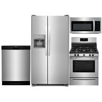 KIT Frigidaire 4 Piece Gas Kitchen Appliance Package with Side by Side Refrigerator - Stainless Steel