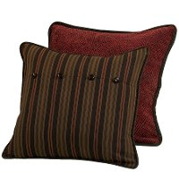 Brown and Red Stripe Euro Sham with Reversible Geometric Pattern