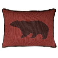 Deep Red Knit Bear Throw Pillow with Brown Piping