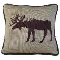Brown Knit Moose Throw Pillow with Brown Piping