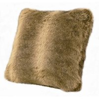 Faux Wolf Fur Throw Pillow