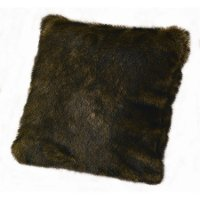 Brown Faux Mink Fur Throw Pillow