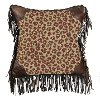 Clearance Fringed Leopard Throw Pillow with Faux Leather Corners