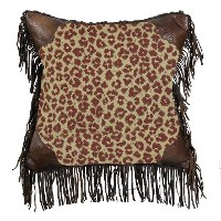 Fringed Leopard Throw Pillow with Faux Leather Corners