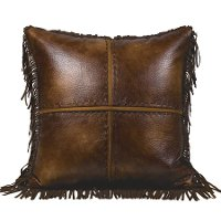 Brown Faux Leather Distressed Throw Pillow with Fringe