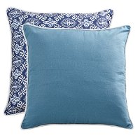 Reversible Blue Print/Solid Throw Pillow