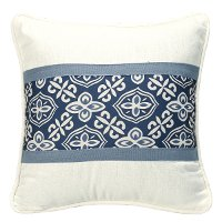 Blue and White Printed Accent Throw Pillow