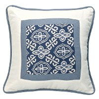 Blue and White Printed Throw Pillow
