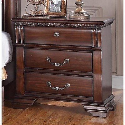Traditional Dark Cherry Nightstand - Isabella