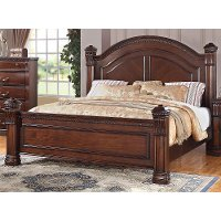 Traditional Dark Pine Queen Bed - Isabella