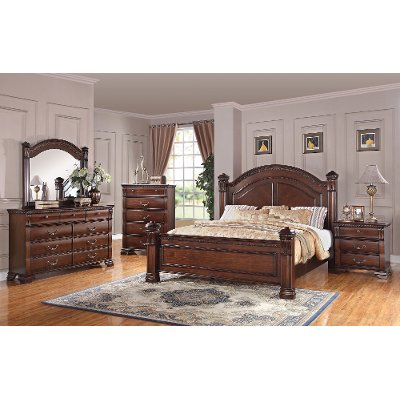 Dark Pine 6 Piece Queen Bedroom Set Isabella
