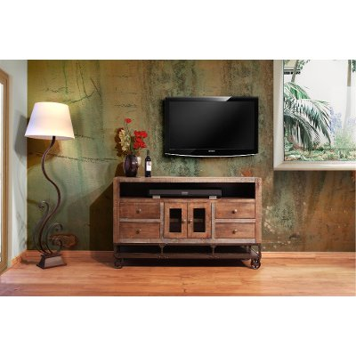 62 inch industrial rustic brown tv stand - Rustic Furniture Outlet