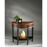 Cherry and Black Demilune Console Accent Table