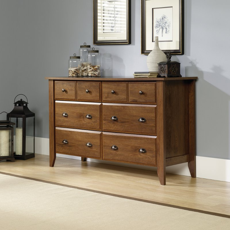 Oiled Oak 6-Drawer Dresser - Shoal Creek