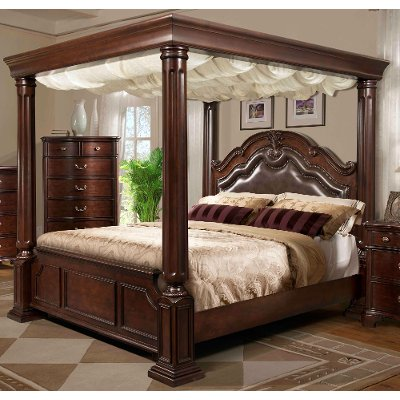Cherry King Canopy Bed - Tabasco